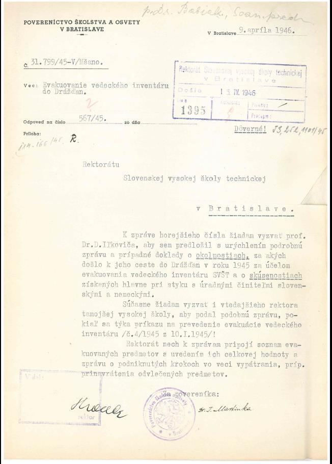 Výzva pre profesora Ilkoviča na podanie správy o ceste do Drážďan.