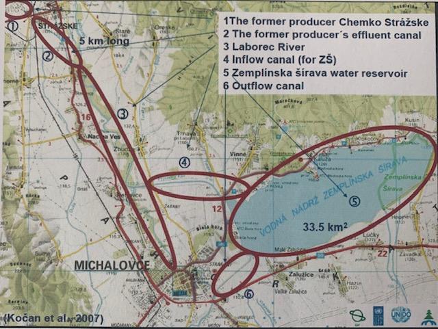 Schéma šírenia kontaminácie PCB v regióne.
